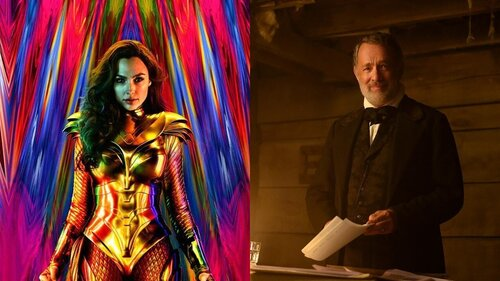 Caption: Gal Gadot in 'Wonder Woman 1984' and Tom Hanks in 'News of the World'