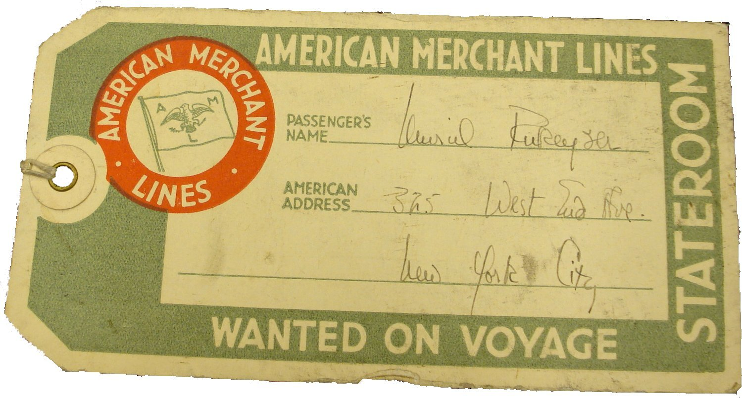 Caption: A BAGGAGE TICKET FROM RUKEYSER'S TRANSATLANTIC VOYAGE FROM NEW YORK TO LONDON (1936)