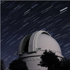 Caption: The Hale Telescope dome at the Palomar Observatory, Credit: Palomar/Caltech