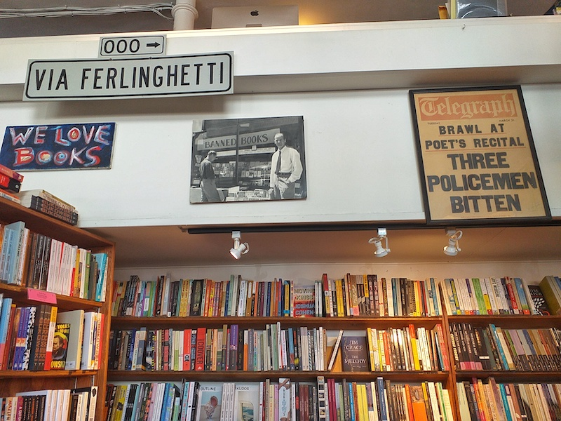 Caption: A photo of Lawrence Ferlinghetti at City Lights Bookstore in San Francisco, Credit: Sandip Roy