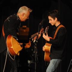 Caption: Guitar master Tommy Emmanuel mentors Frano.