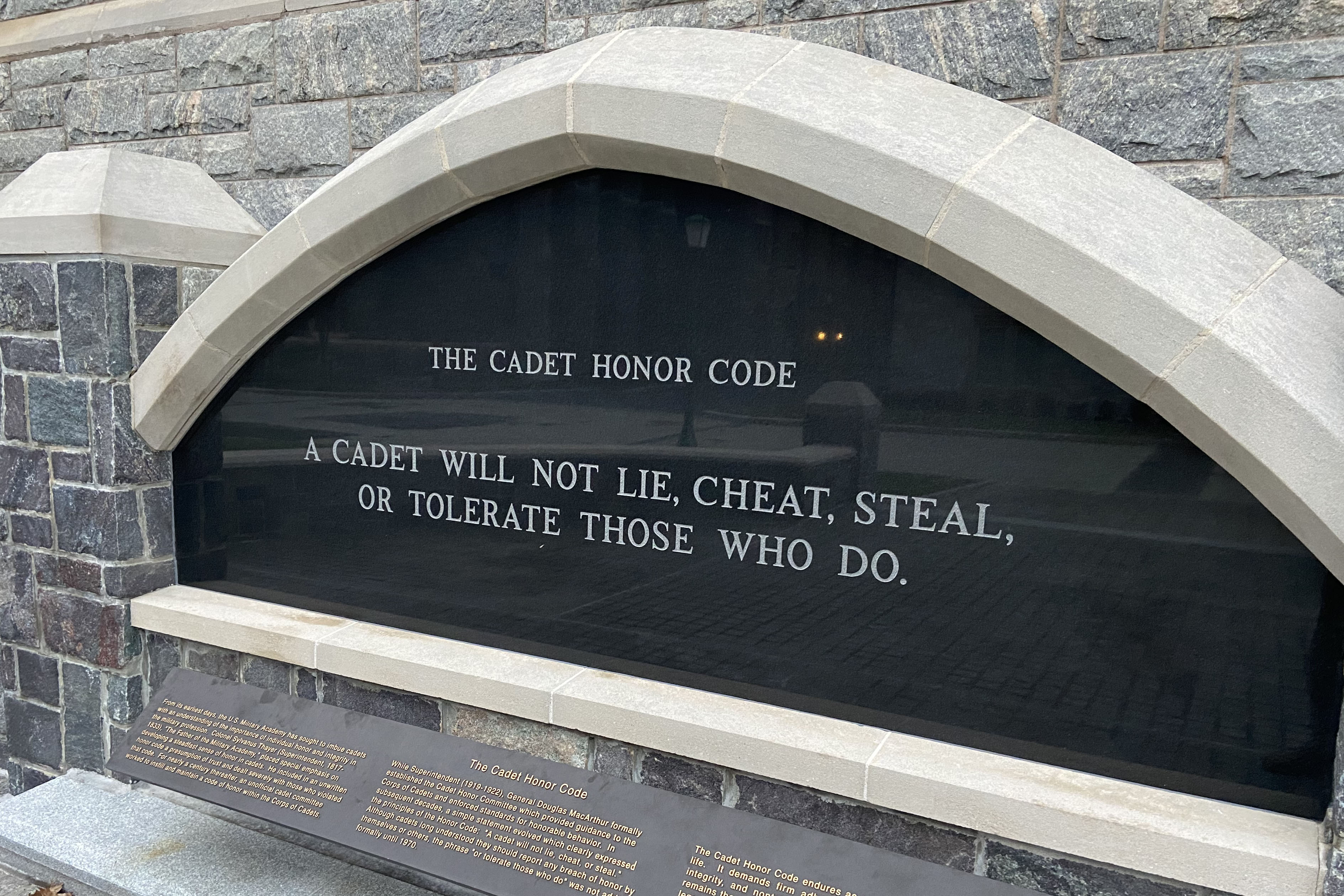 Caption: A monument on the West Point campus states the military academy's honor code. More than 70 cadets were accused last year of cheating on an exam; most will be allowed to stay at West Point., Credit: U.S. Military Academy
