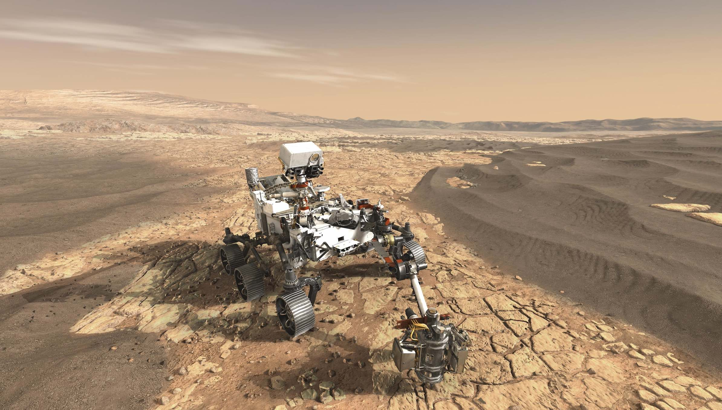 Caption: This artist's concept depicts NASA's Mars 2020 rover on the surface of Mars., Credit:  NASA/JPL-Caltech