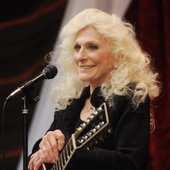 Caption: Judy Collins on the WoodSongs Stage.