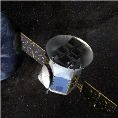 Caption: Artist's impression of the TESS spacecraft on orbit., Credit: NASA
