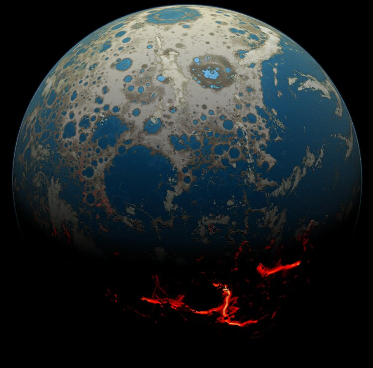 Caption: Artist's conception of early Earth after several large asteroid impacts, moving magma on to the surface. , Credit: Simone Marchi/SwRI