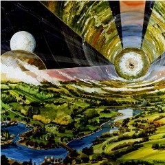 Caption: Artist's concept of a giant O'Neill cylinder space settlement., Credit: NASA, Art by Rick Guidice