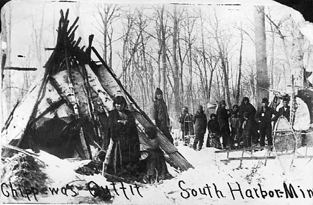 Caption: Ojibwe people at a winter camp in South Harbor, Minnesota in 1875, Credit: MN Historical Society
