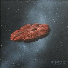 Caption: Artist's impression of interstellar object 'Oumuamua, Credit: William Hartmann