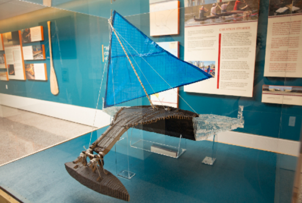 Caption: A model of a Microneisan outrigger canoe is part of the Why Canoes? exhibit., Credit: Univeristy of Minnesota Twin Cities