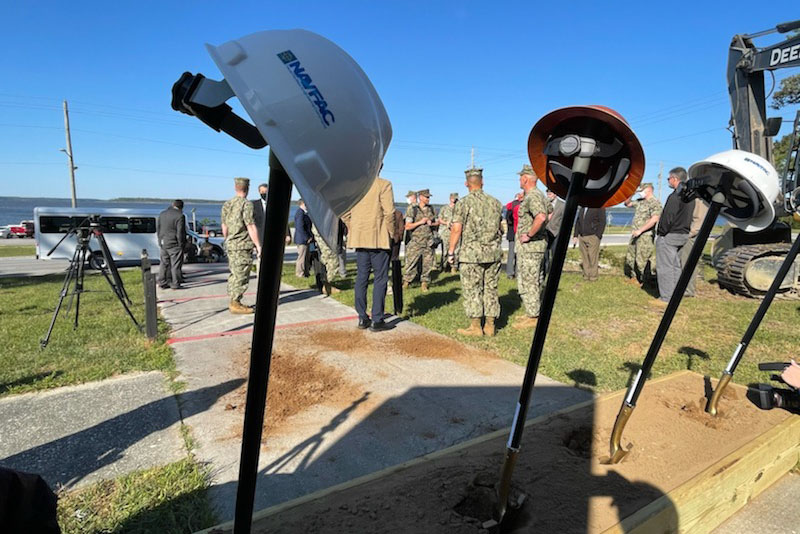 Caption: Military and civilian officials attend a ceremonial groundbreaking at Camp Lejeune, N.C. for a major reconstruction effort that will make the base more resilient to the effects of climate change., Credit: Jay Price / American Homefront