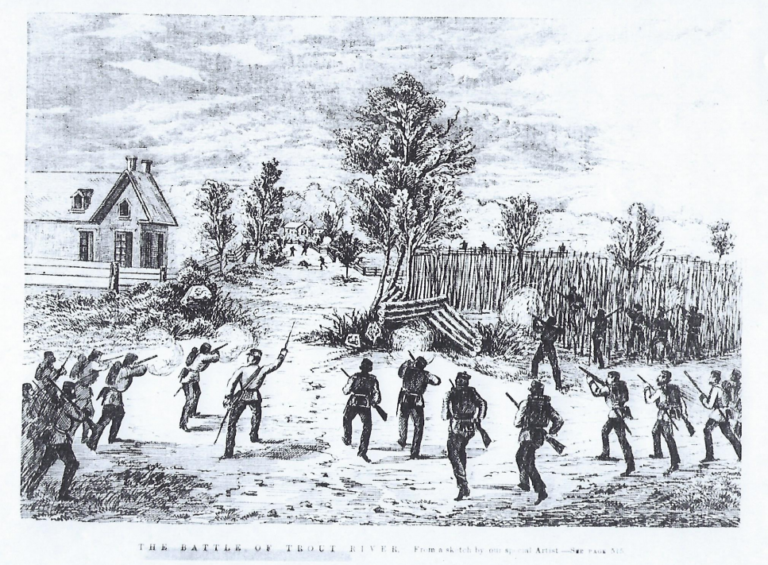 Caption: An illustration of the Battle of Trout River, Credit: Provided by Martha Gardner, town of Constable historian