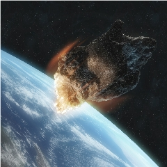 Caption: Earth has a close call with a giant near-earth asteroid in this artist's concept., Credit: Getty Images