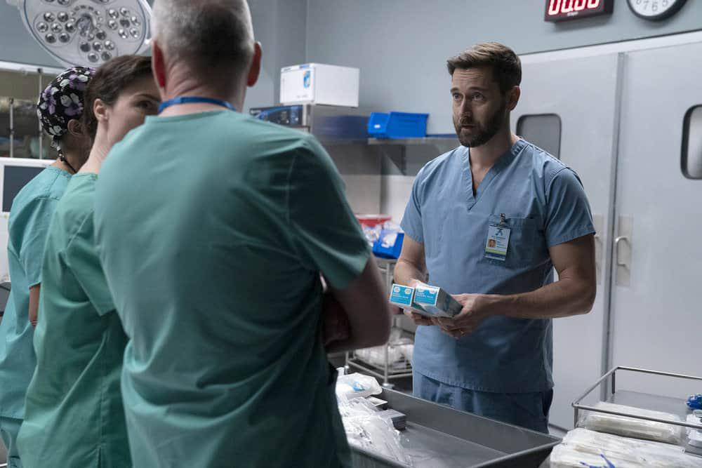 """Caption: Ryan Eggold as Dr. Max Goodwin in NBC's """"New Amsterdam"""" talks with staff about climate change as a healthcare emergency, and points out that single-use plastic gloves make up 20% of the medical waste generated in this country., Credit: VIRGINIA SHERWOOD/NBC"""