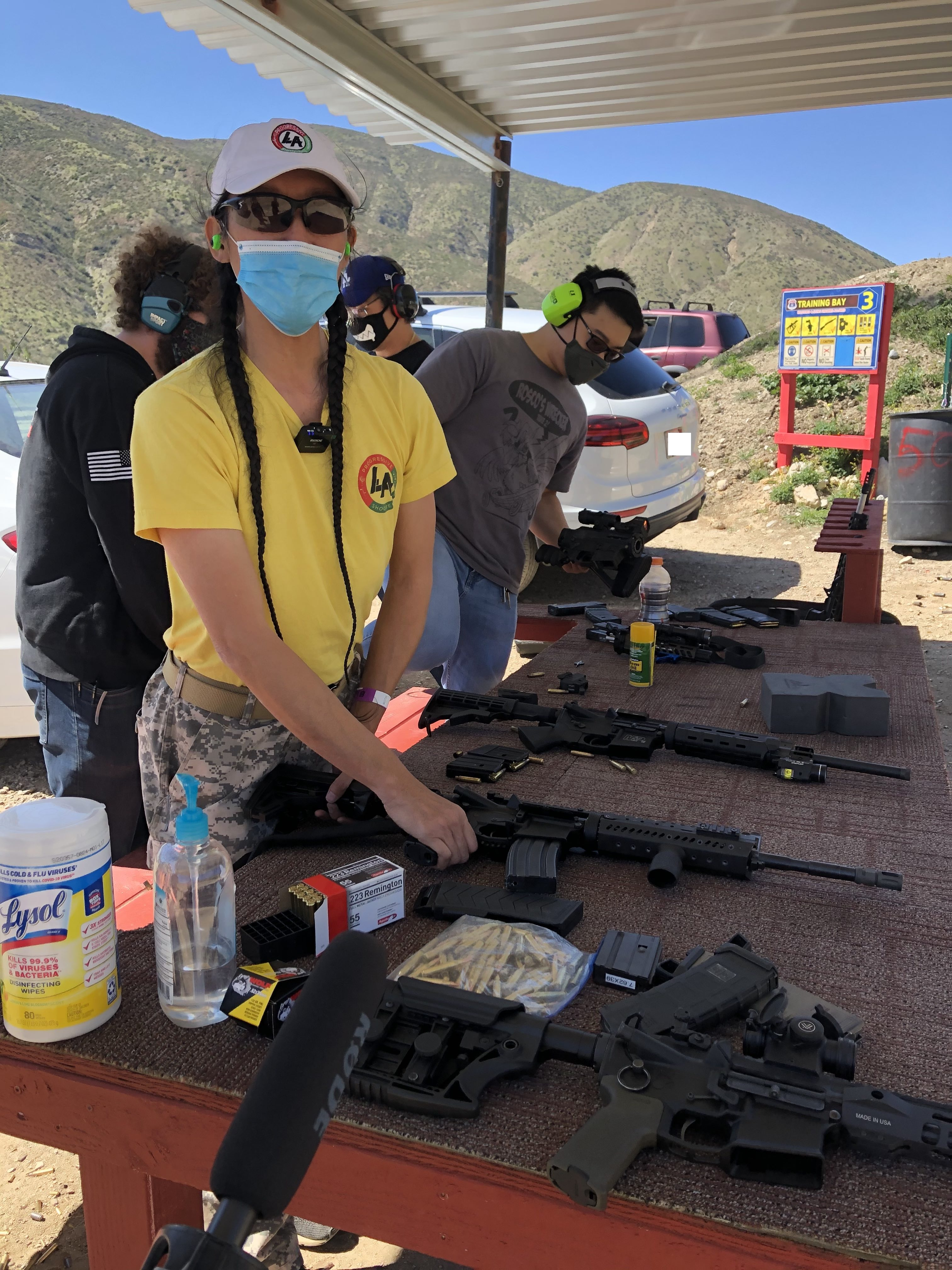 Caption: Tom Nguyen, founder of L.A. Progressive Shooters, at the Route 66 Shooting Park in San Bernardino, CA. March 27, 2021., Credit: M. Lopez, Making Contact