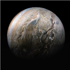 Caption: NASA's Juno spacecraft captured this stunning compilation image of Jupiter's stormy northern hemisphere as it performed a close pass of the gas giant planet. Some bright-white clouds can be seen at high altitudes on the right side of Jupiter's disk. Image, Credit: NASA/JPL-Caltech/SwRI/MSSS