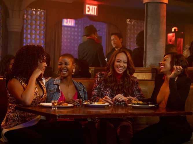 Caption: A still from the show 'Run the World' featuring the four main characters., Credit: STARZ