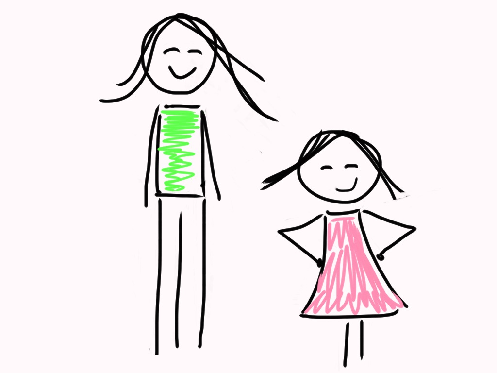 Caption: A cartoon representation of Marlo Mack and her daughter, M., Credit: Courtesy of Marlo Mack