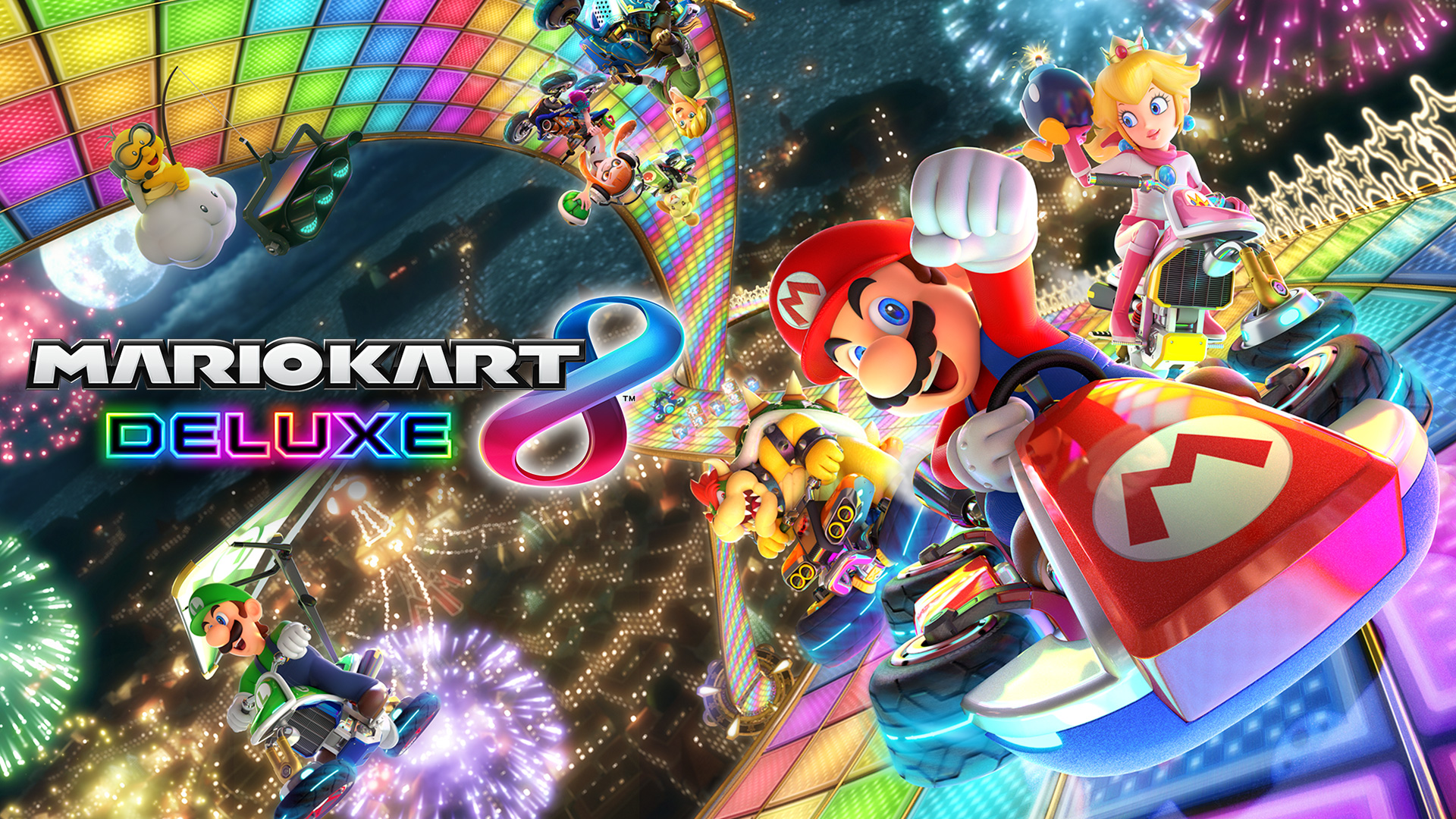 Caption: Cover art for Mario Kart 8 Deluxe.  The game's original soundtrack was composed by members of Nintendo's sound team, including Shiho Fujii, Atsuko Asahi, and many others, and was performed by the Mario Kart Band.