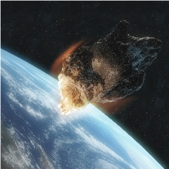 Caption: Artist concept of a large asteroid crashing toward Earth., Credit: Getty Images