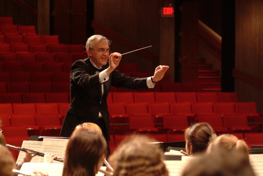 Caption:  Byron Hanson conducting the Interlochen Arts Academy Band in the 2002-03 Academy year, Credit: Interlochen Center for the Arts