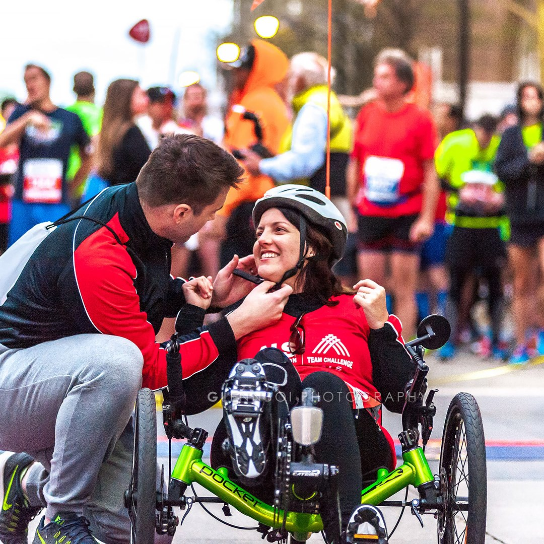 Caption: Andrea Lytle Peet with her husband, David, at the finish line of the Raleigh Rock 'n' Roll Marathon in 2017., Credit: Glennboi Photography