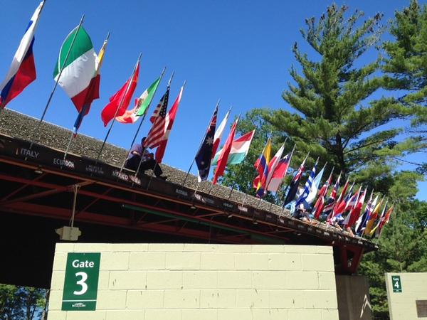 Caption: Flags outside of Interlochen's Kresge Auditorium, Credit: Interlochen Center for the Arts