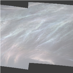 """Caption: NASA's Curiosity Mars rover spotted these iridescent, or """"mother of pearl,"""" clouds on March 5, 2021, the 3,048th Martian day, or sol, of the mission. , Credit: NASA/JPL-Caltech/MSSS"""