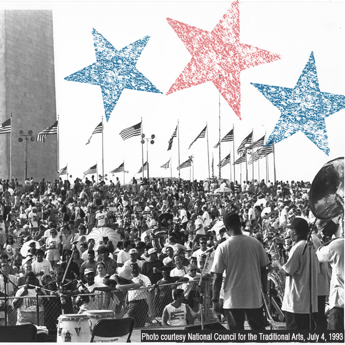 Caption: 4th of July on the National Mall July 4, 1993, Credit: Photo courtesy National Council for the Traditional Arts, July 4, 1993