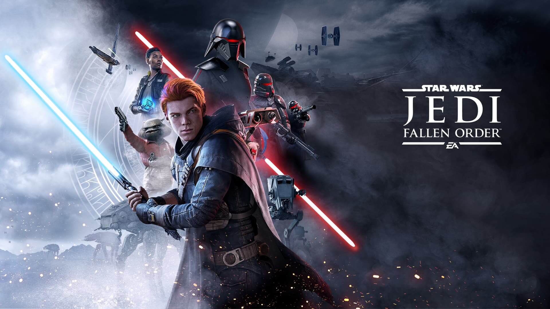 Caption: A promotional image for Star Wars Jedi: Fallen Order, a game scored by Stephen Barton and Gordy Haab.