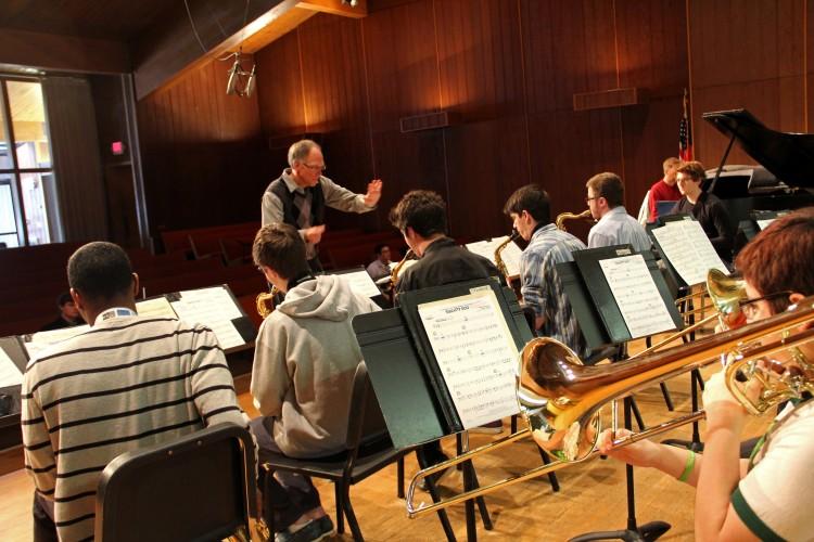 Caption:  Bill Sears directing the Interlochen Arts Academy Jazz Ensemble (2012-13 Academy year)