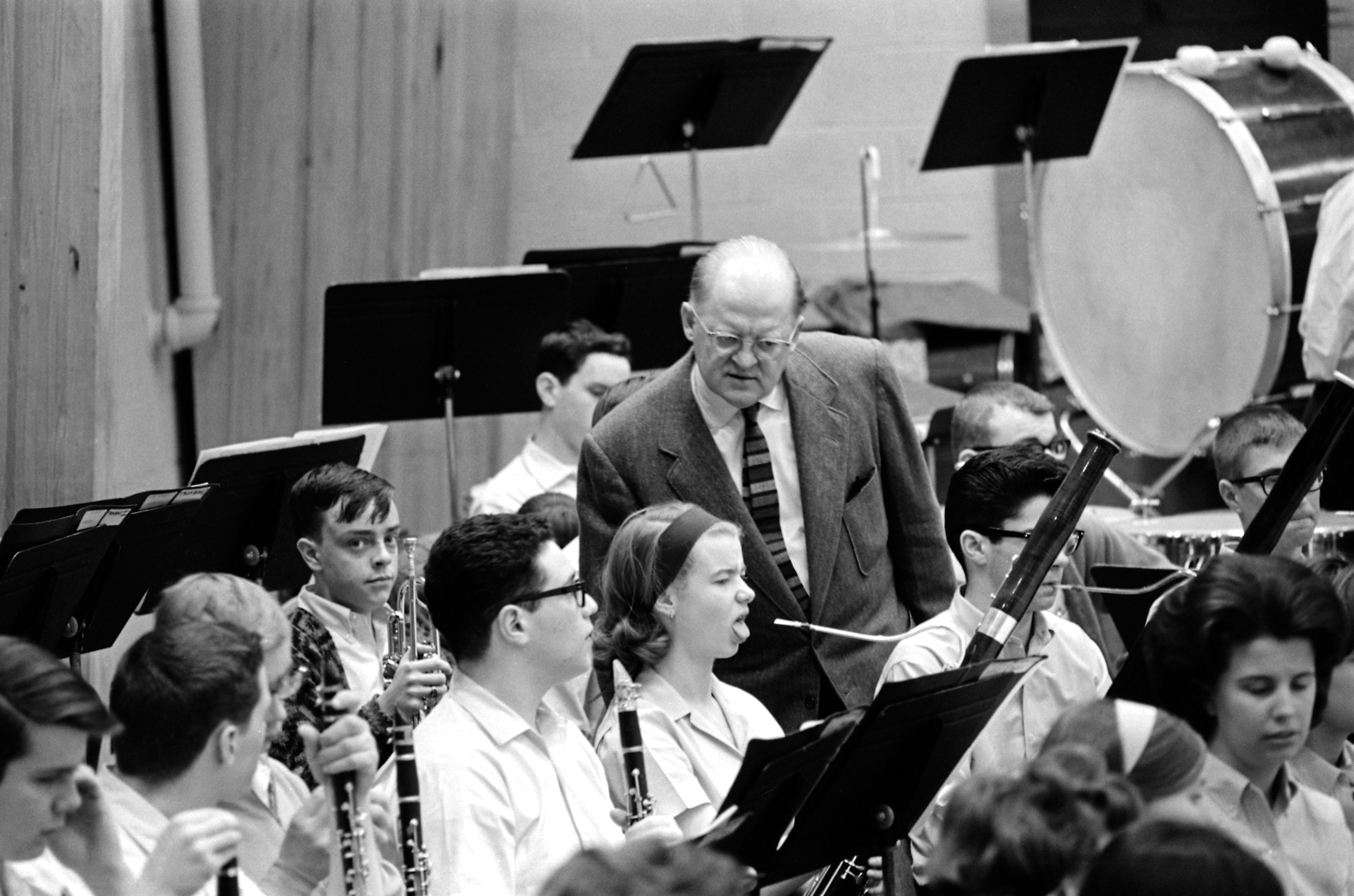 Caption:  Thor Johnson and a bassoonist during orchestra rehearsal, 1964-65 Interlochen Academy Year. , Credit: Interlochen Center for the Arts