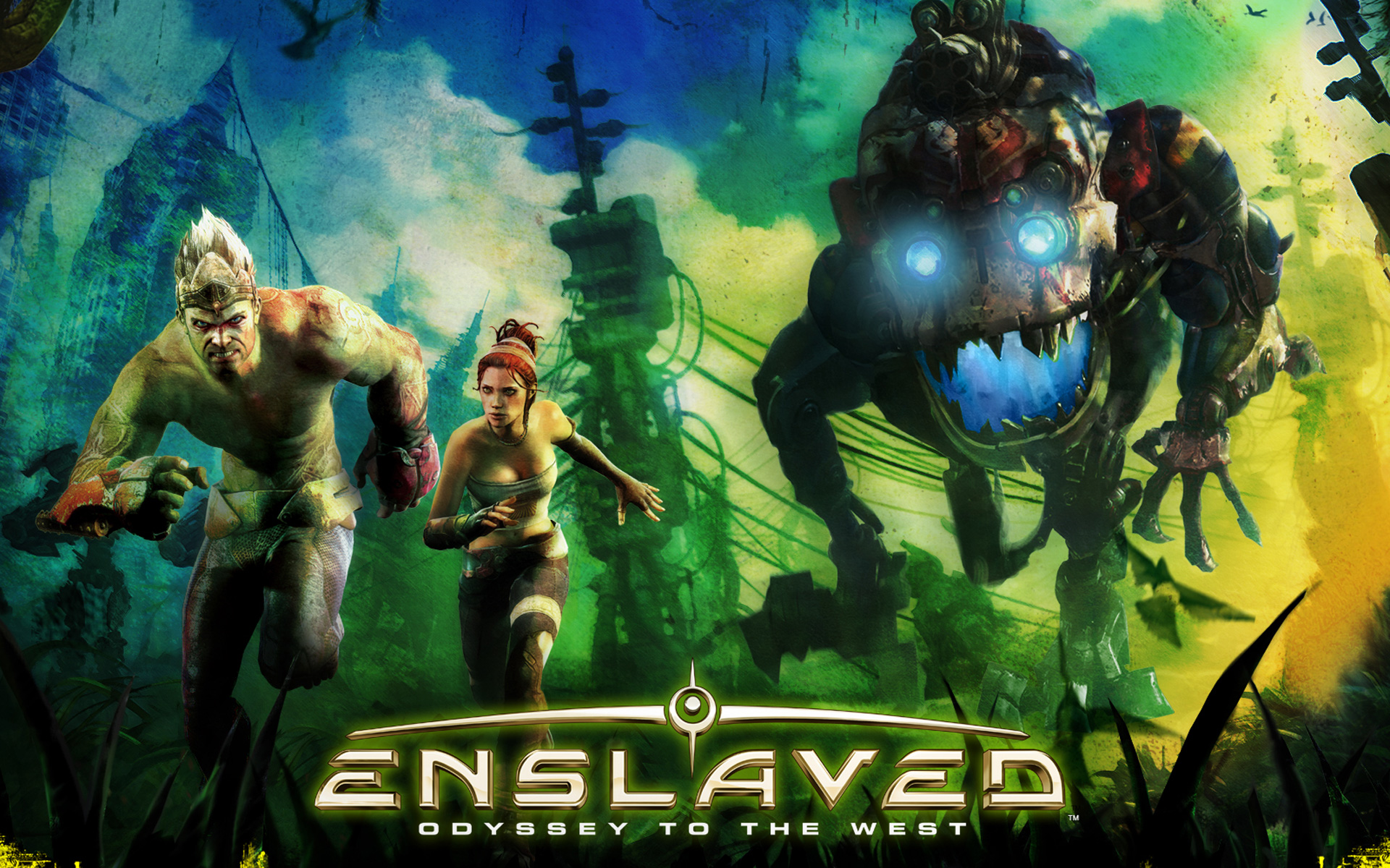 Caption:  A promotional image for the game Enslaved: Odyssey to the West, starring Andy Serkis and Lindsey Shaw in motion capture performances.  Nitin Sawhney composed the original score.