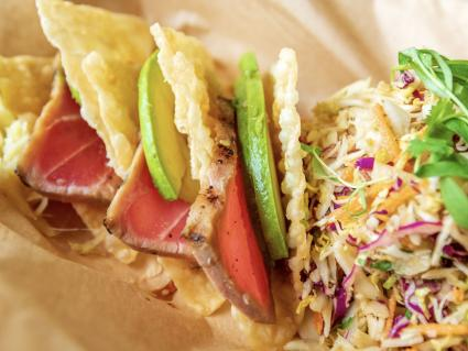 Caption: Sashimi tuna tacos from Scenic 61 by New Scenic Café. Photo courtesy Minnesota State Fair.