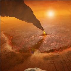 Caption: Artist's concept of active volcanos on Venus, Credit: NASA/JPL-Caltech/Peter Rubin