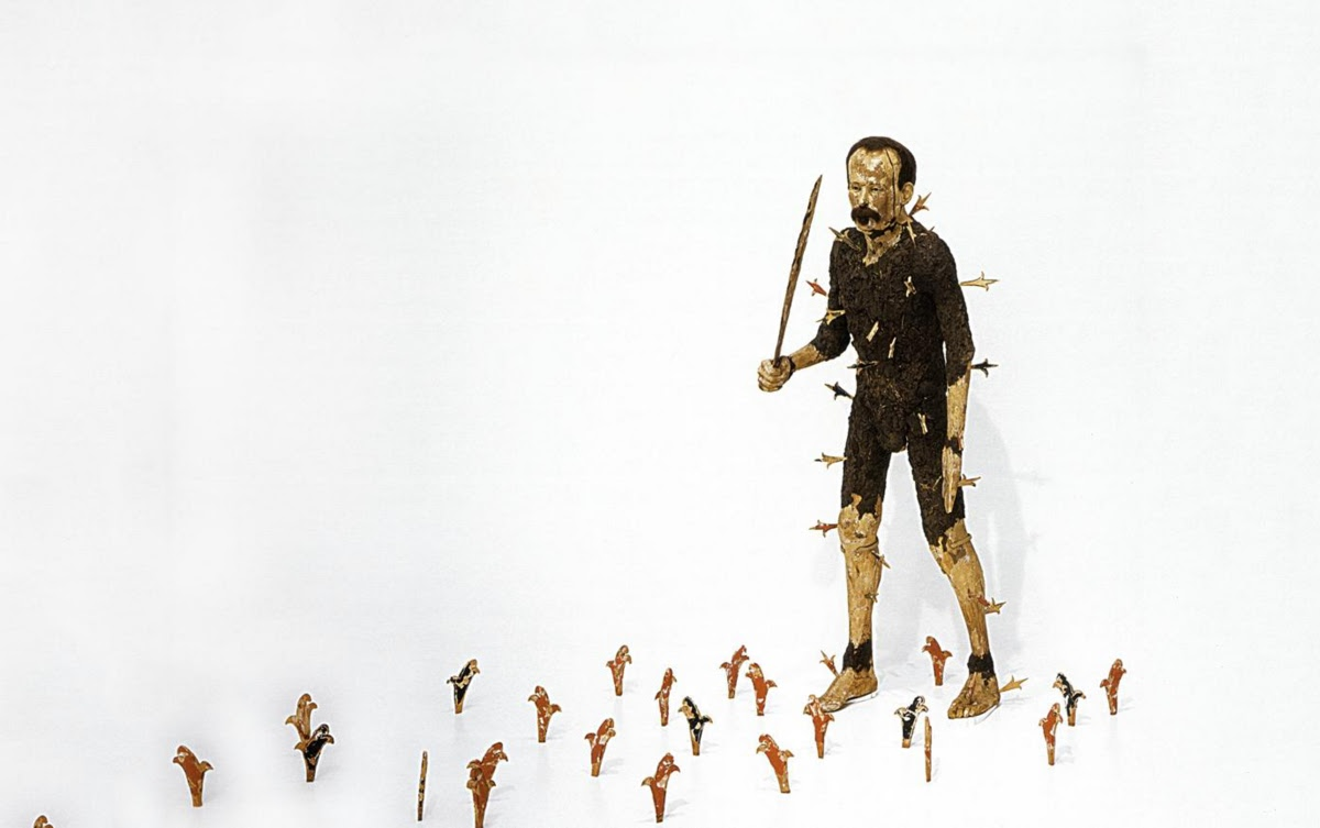 Caption: Por América [José Martí], Juan Francisco Elso, 1986, From the collection of: The Bronx Museum of the Arts