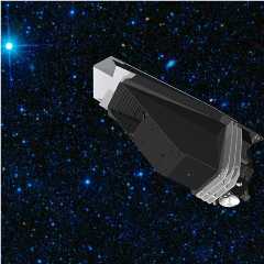 Caption: This artist's concept of NASA's Near-Earth Object Surveyor Mission shows the space telescope in front of a star field captured by the WISE telescope., Credit: NASA/JPL-Caltech/The Planetary Society