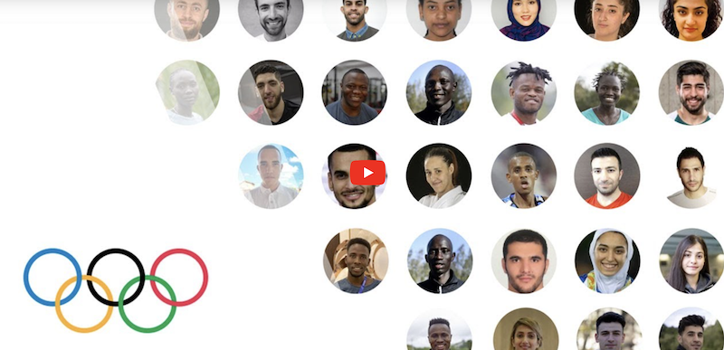 Caption: A screen shot of the opening video about the refugee Olympic team, Credit: International Olympic Committee