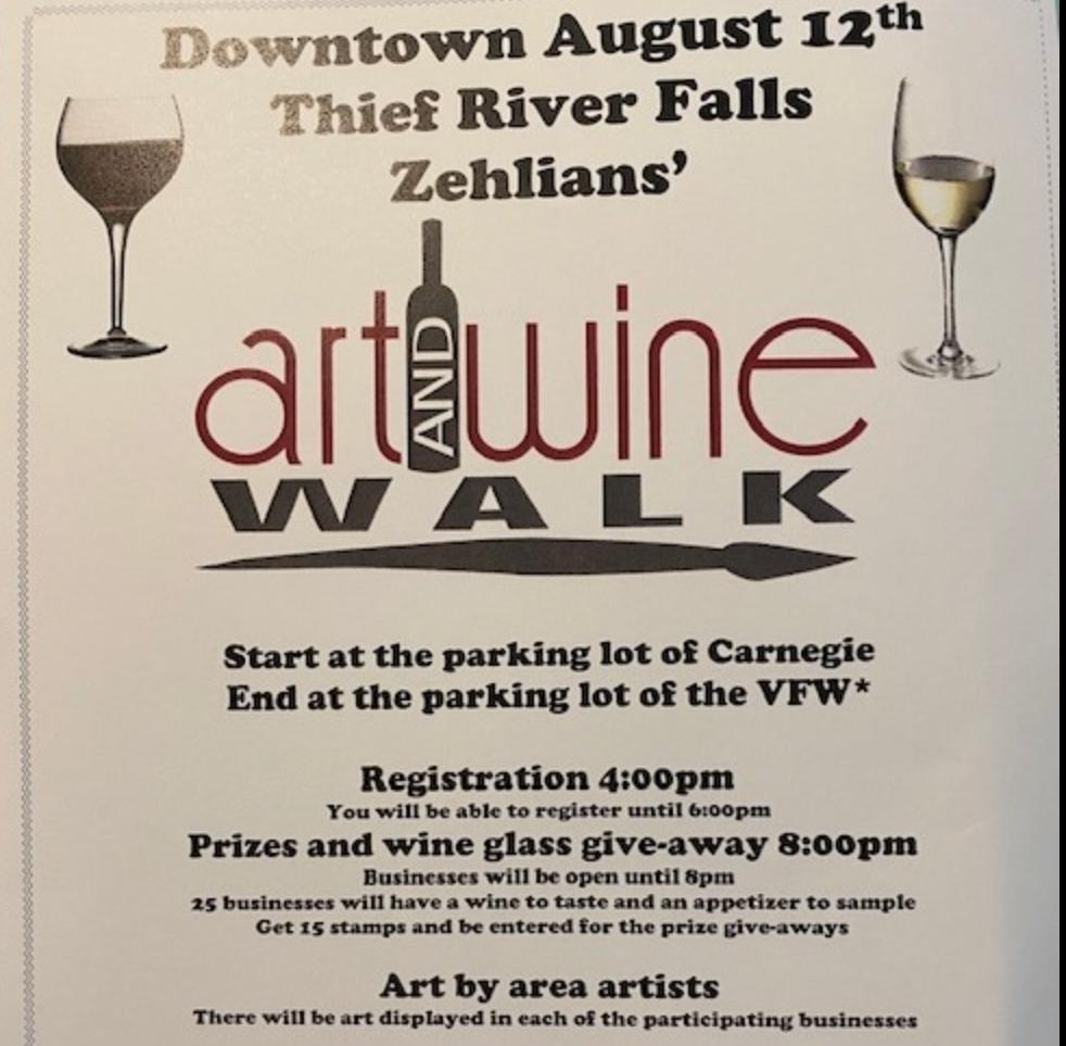 Caption: TRF Art & Wine Walk Schedule
