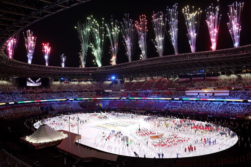 Caption:  The traditional Parade of Nations at the 2020 Tokyo Olympics featured an orchestral medley of popular video game music, which underscored the entrance of the athletes.