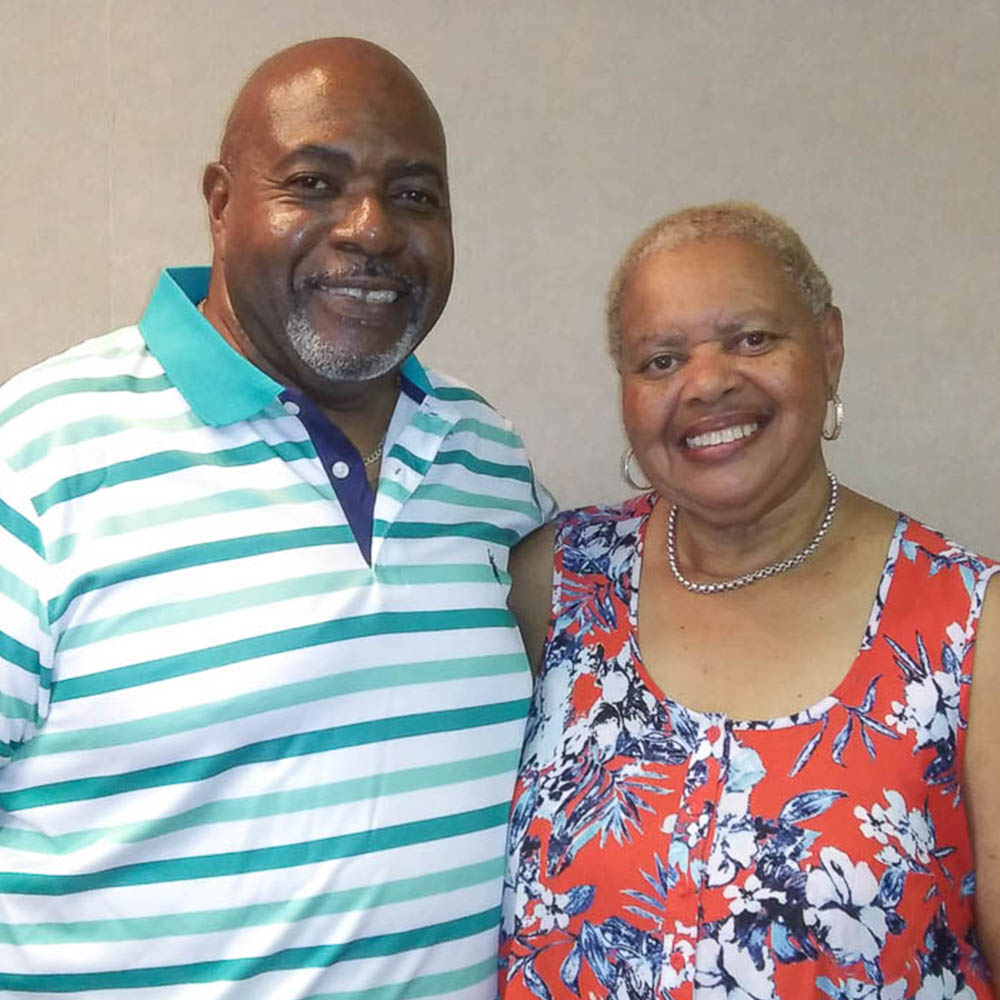 Caption: Alvy Powell and Yvonne Powell at their StoryCorps Interview in Norfolk, Virginia on July 14th, 2021.