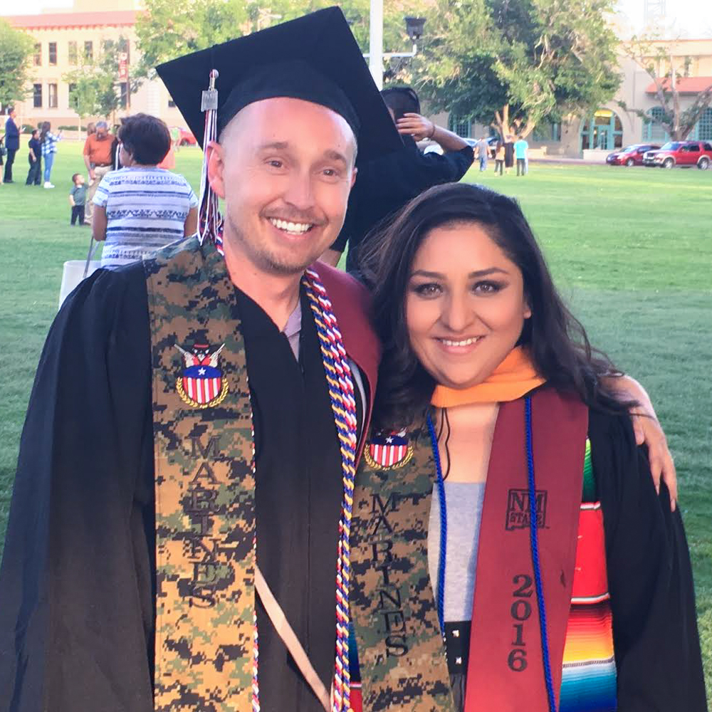 Caption: Melanie Dunne and her husband, Josh, at their graduation from New Mexico State University., Credit: Courtesy of Melanie Dunne.