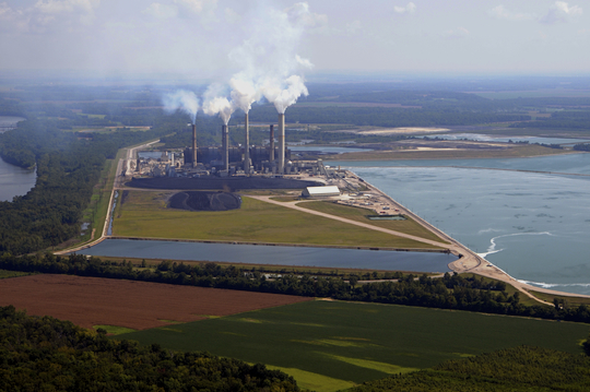 Caption: Duke's Gibson, Indiana power plant is the second largest coal burner in the nation., Credit: Photo by John Blair.