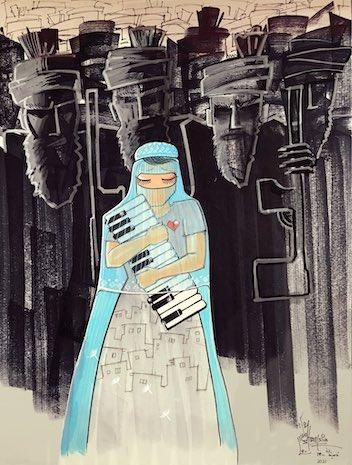 """Caption: """"Nightmare"""" by Shamsia Hassani, Credit: Shamsia Hassani"""