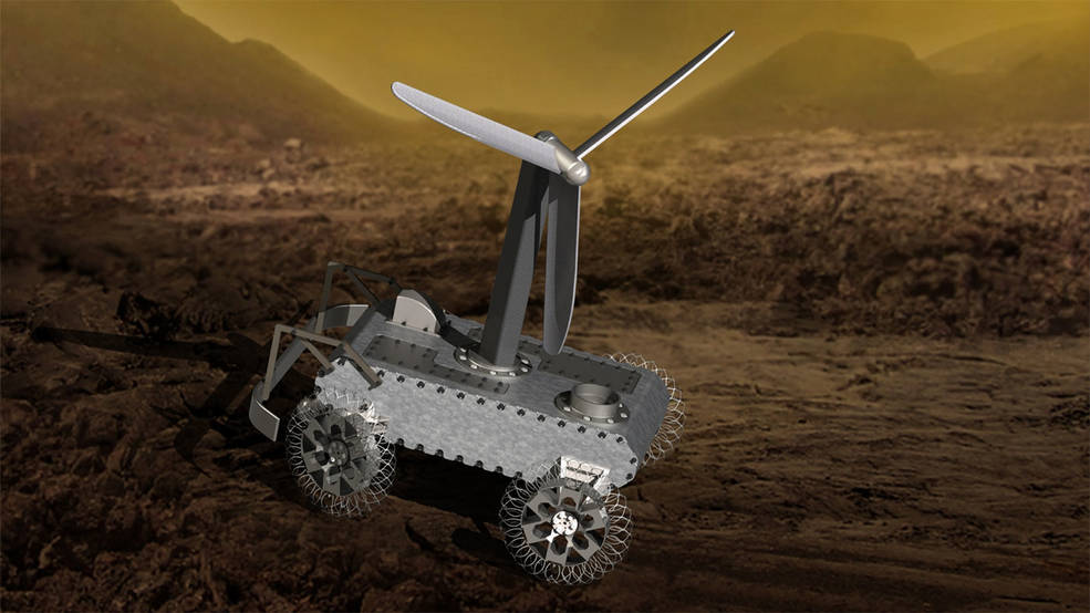 Caption: An illustration of a concept for a possible wind-powered Venus rover., Credit: NASA/JPL-Caltech
