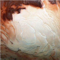 Caption: The European Space Agency's Mars Express spacecraft captured the infrared, green, and blue-light images used to make pictures of the Martian south pole., Credit: ESA / G. Neukum (Freie Universitaet, Berlin) / Bill Dunford / Edited by The Planetary Society