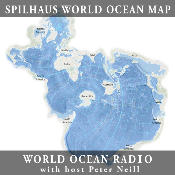 Caption: Image The Spilhaus Projection World Ocean Map. A world ocean map based on the Spilhaus projection. The Spilhaus map projection was developed in 1942 by Dr. Athelstan Spilhaus. Centered in Antarctica, the world oceans come together to form a singular, conn, Credit: Photo credit: StoryMaps ArcGIS