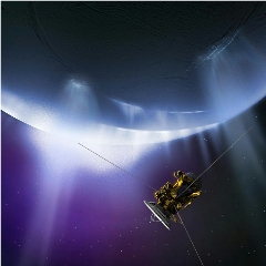 Caption: An artist's impression of the late Cassini spacecraft approaching the giant water plumes emanating from the icy surface of Enceladus., Credit: NASA/JPL-Caltech
