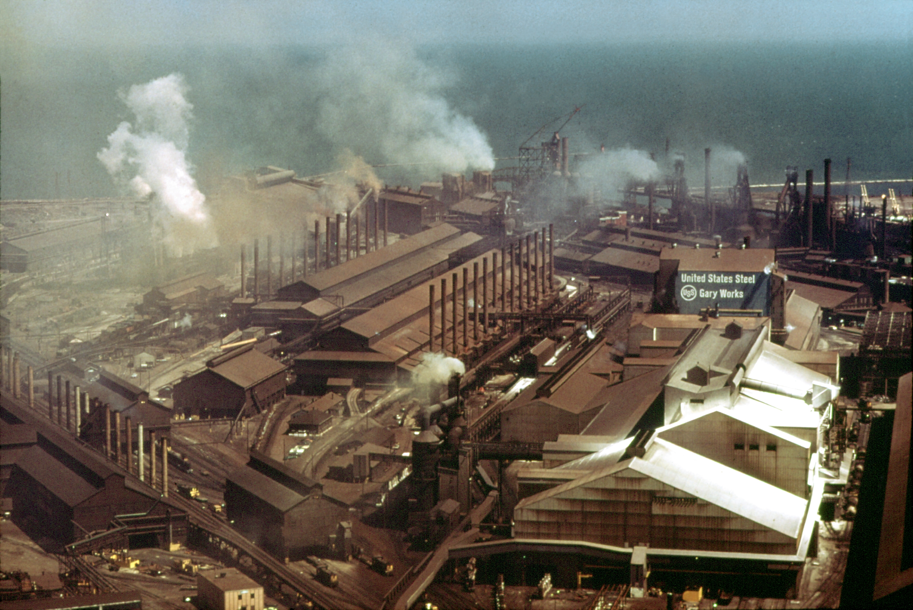 Caption: Aerial view of the Gary Works in 1973.