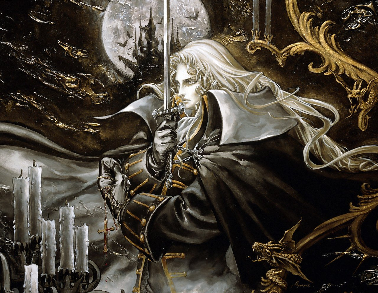 Caption: A depiction of protagonist Alucard by artist Ayami Kojima for the 1997 game Castlevania: Symphony of the Night. Composer Michiru Yamane wrote the original score.